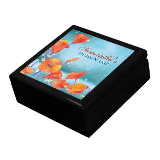 Turquoise rustique de pavot rouge florale grande boîte à bijoux carrée