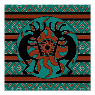 Turquoise Sun tribal Kokopelli de sud-ouest