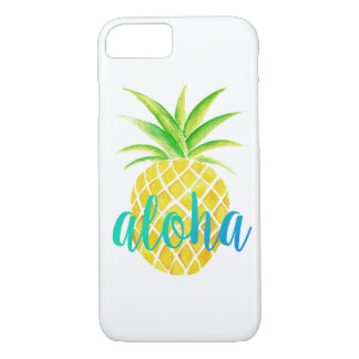 Turquoise tropicale d'aquarelle d'ananas Aloha Coque iPhone 7
