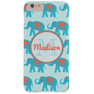 Turquoise turquoise, éléphants bleus sur le nom de coque barely there iPhone 6 plus