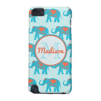 Turquoise turquoise, éléphants bleus sur le nom de coque iPod touch 5G