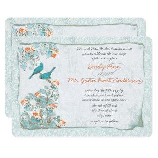 Turquoise vintage d'oiseaux et mariage damassé carton d'invitation  12,7 cm x 17,78 cm