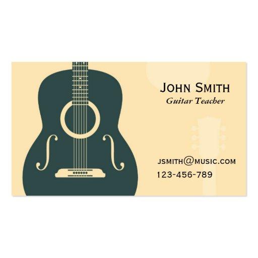 Tuteur de musique de professeur de guitare cartes de visite professionnelles