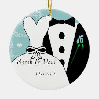 Tux et ornement de Noël de mariage de robe premier