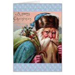 Tuyau de tabagisme bleu du père noël de robe longu cartes de vœux