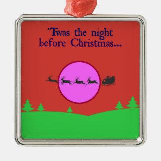 Twas la nuit avant Noël Ornement Carré Argenté