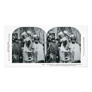 Twas la nuit avant Noël Stereoview 1897 Photocarte Customisée