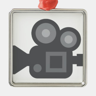 Twitter Emoji - Camera film making Ornement Carré Argenté