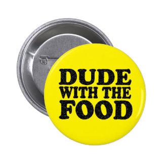 Type avec le bouton de goupille de nourriture badges