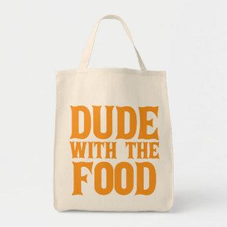 Type avec l'orange de nourriture sac de toile