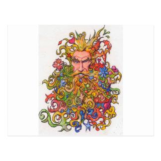 Type coloré de barbe cartes postales