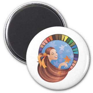 Type fille d automne chute avec la palette magnets