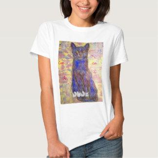 type frais de chat bleu t-shirt