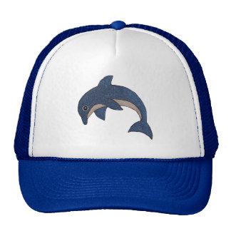 Type mignon dauphin sautant blanc bleu de bande casquette de camionneur