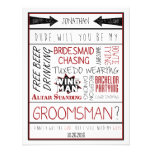 Type, serez-vous mon Groomsman ? Collage rouge/noi Faire-part Personnalisables