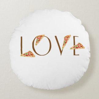 Typographie à la mode d'amusement de pizza d'amour coussins ronds