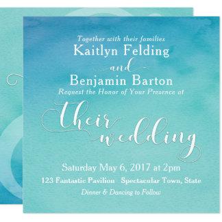 Typographie blanche 4b d'aquarelle turquoise et carton d'invitation  13,33 cm