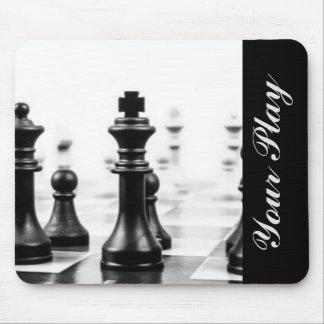 Typographie blanche noire d'échecs tapis de souris