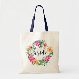Typographie bleue de jeune mariée et guirlande sac de toile