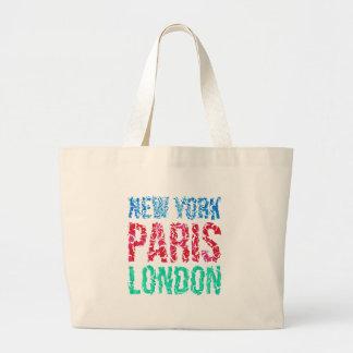 Typographie de New York Paris Londres de capitale, Sacs De Toile
