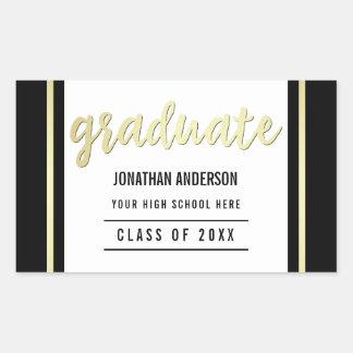 Typographie et frontière d'or du diplômé | sur le sticker rectangulaire