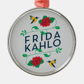 Typographie florale de Frida Kahlo | Ornement Rond Argenté