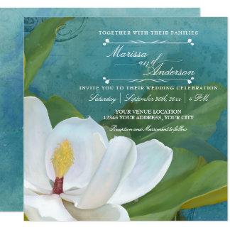 Typographie florale de magnolia romantique carton d'invitation  13,33 cm