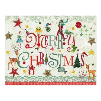 Typographie Girly de Joyeux Noël - cartes postales