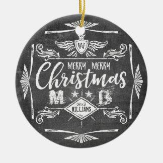Typographie grunge de Joyeux Noël de tableau rétro Ornement Rond En Céramique