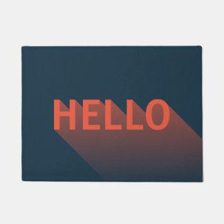 Typographie moderne bleu-foncé et d'orange bonjour paillasson