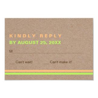 Typographie moderne et rayures RSVP l'épousant Carton D'invitation 8,89 Cm X 12,70 Cm