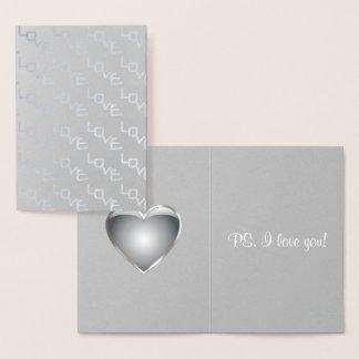 Typographie romantique d'amour de coeur argenté carte dorée