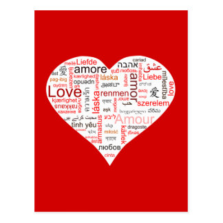 Typographie rouge de coeur d amour cartes postales