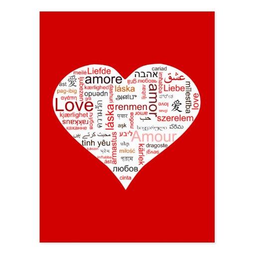 Typographie rouge de coeur d'amour cartes postales
