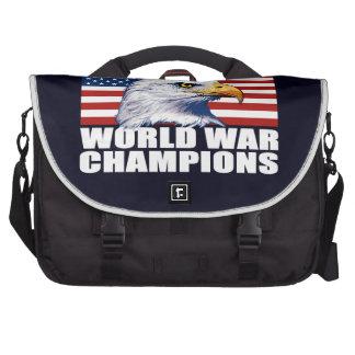U.S. Drapeau et champions de guerre mondiale Sacoches Ordinateur Portable