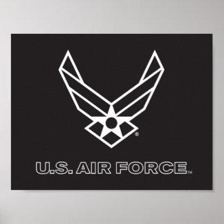 U.S. Logo de l'Armée de l'Air - noir Posters