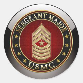 U.S. Marines : Commandant de sergent (usmc SgtMaj) Sticker Rond