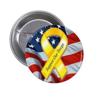 U.S. MILITAIRE - ruban et drapeau jaunes Badge Rond 5 Cm