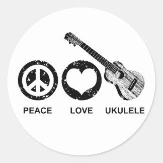 Ukulélé d'amour de paix sticker rond