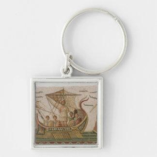 Ulysse et les sirènes porte-clé carré argenté