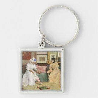 Un appel amical, 1895 (huile sur la toile) porte-clé carré argenté