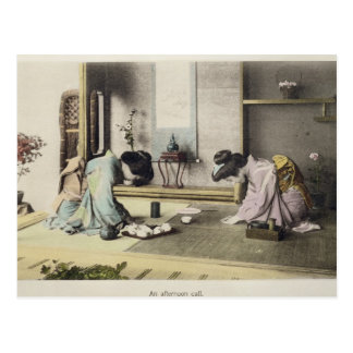 Un appel d'après-midi, c.1880 (albumen coloré par cartes postales