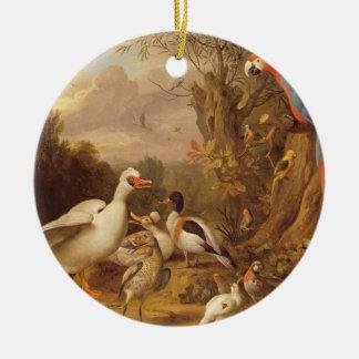 Un ara, canards, perroquets et d'autres oiseaux ornement rond en céramique