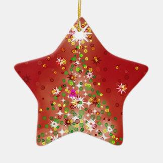 Un arbre de Noël qui rougeoie Ornement Étoile En Céramique