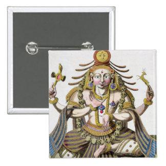 Un aspect de Shiva, de 'voyage Indes aux. et d'une Badge Carré 5 Cm