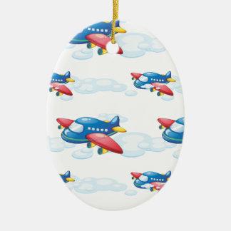 un avion ornement ovale en céramique