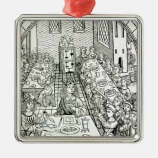 Un banquet princier, 1491 ornement carré argenté