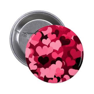 Un bon nombre de coeurs roses, motif mignon d'amou badge rond 5 cm