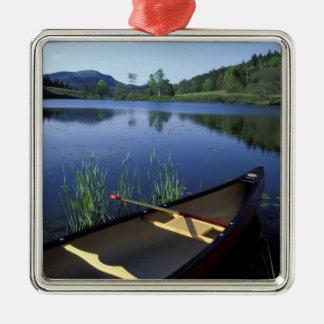Un canoë se repose sur le rivage de peu de long ornement carré argenté