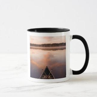Un canoë se repose sur le rivage du lac mug